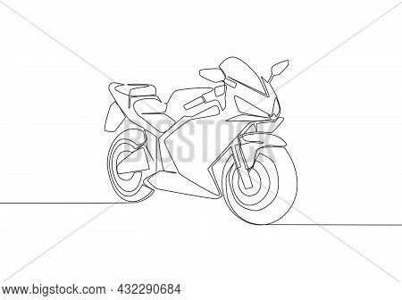 One Continuous Line Drawing Of Luxury Sporty Motorbike For Racing Logo. Big Sport Motorcycle Concept