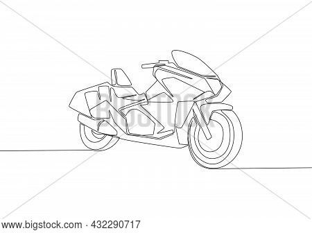 Single Continuous Line Drawing Of Big Sporty Luxury Motorbike Logo. Touring Motorcycle Concept. One