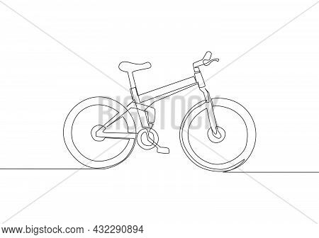 One Single Line Drawing Of Mountain Bicycle Logo. Urban Bike To Work And Go Green Movement Concept.