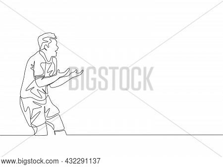 One Single Line Drawing Of Young Furious Football Player Protesting And Arguing Referee Decision For