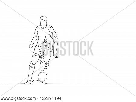 One Single Line Drawing Of Young Football Playmaker Dribbling A Ball So Calm At The Match. Soccer Ma
