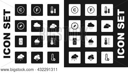 Set Meteorology Thermometer, Cloud With Rain, Compass, Celsius, Sun And Cloud Weather, Fahrenheit, A