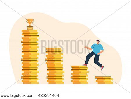 Young Man Jumping On Stacks Of Coins To Trophy. Flat Vector Illustration..successful Man Winning Mon
