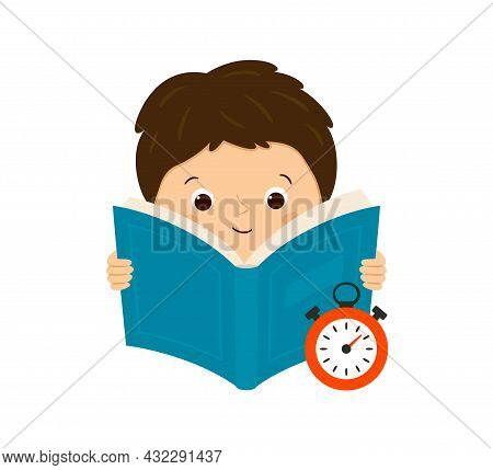 Speed Reading. A Boy Reads A Book And Measures The Speed Of Reading. Vector Illustration Isolated On