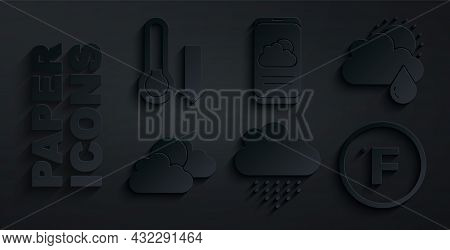 Set Cloud With Rain, And Sun, Sun Cloud Weather, Fahrenheit, Weather Forecast And Meteorology Thermo