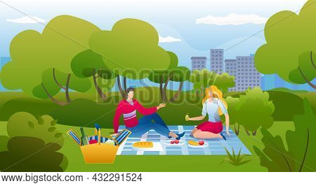 Picnic In Park, Vector Illustration, Happy Young Couple Man Woman Character Eat Food At Summer Natur