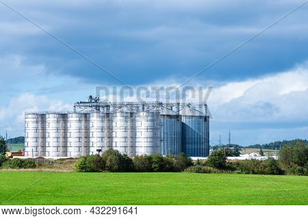 Granary Large Modern Agro-processing Plant Storage And Processing Of Grain Crops. Large Metal Barrel