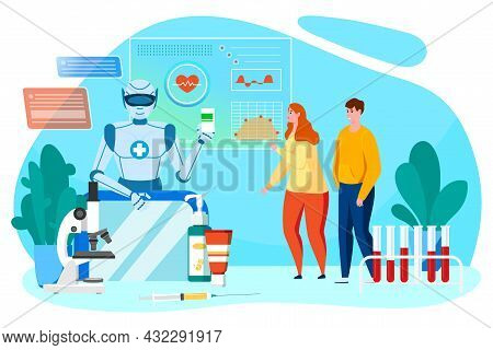Robot Health Technology Concept, Vector Illustration, Doctor Artificial Mind Give Flat Man Woman Pat