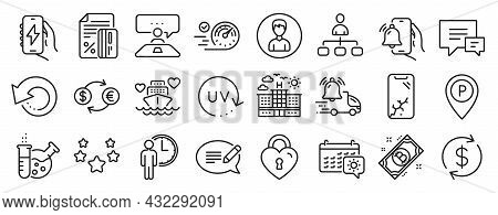 Set Of Business Icons, Such As Message, Credit Card, Delivery Notification Icons. Parking, Recovery