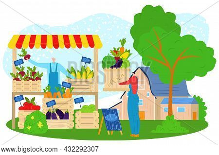 Store Market, Vector Illustration, Flat People Character Buy Fresh Food In Farm Shop, Organic Local