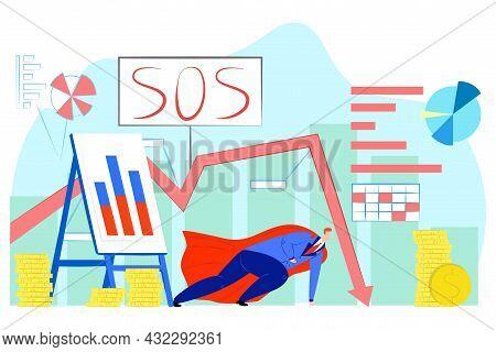 Hero Near Money, Financial Crisis, Vector Illustration. Falling Profit Graph, Sos Sign For Economic