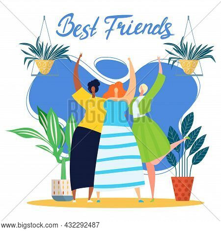 Happy People Friendship, Vector Illustration, Cute Best Friend Together, Young Woman Girl Character