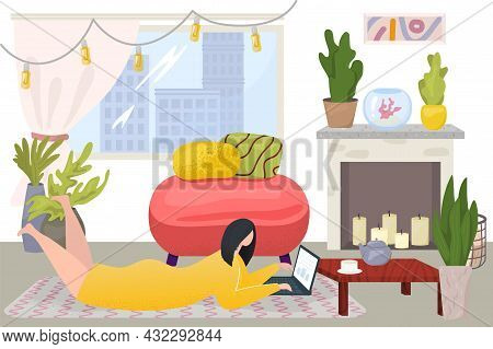 Home Office Work, Vector Illustration, Flat Woman Character Use Laptop For Internet Business, Person