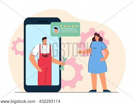 Online Repair Service With Reviews. Flat Vector Illustration. Woman Browsing Available Repair Option