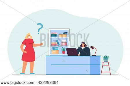 Cartoon Woman In Medical Mask Asking Secretary, Sitting At Desk. Flat Vector Illustration. Girl Aski