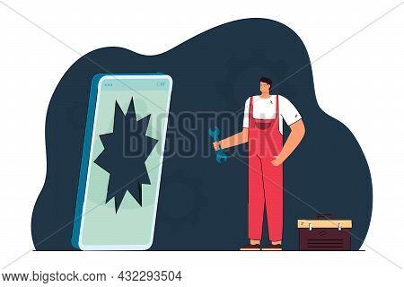 Repairman And Broken Smartphone Flat Vector Illustration. Tiny Man With Tools Repairing Giant Cracke