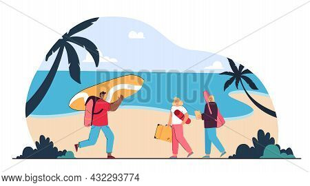 Group Of Friends Going To Relax On Beach. Flat Vector Illustration. Surfer With Board, Girls With Gu