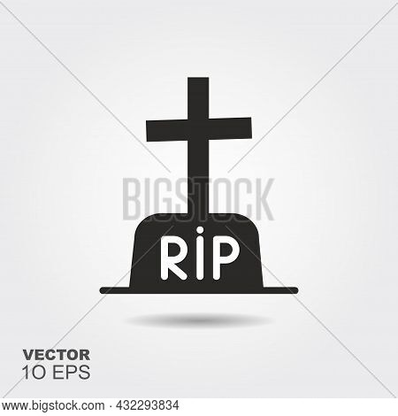 Tombstone. Flat Silhouette Icon With Shadow. Vector Illustration