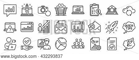 Set Of Education Icons, Such As Start Business, Court Building, Pie Chart Icons. Accounting Report,