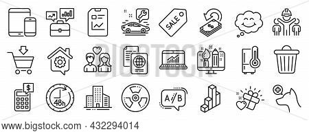Set Of Business Icons, Such As Sale Ticket, Car Service, Mobile Devices Icons. Couple Love, 48 Hours