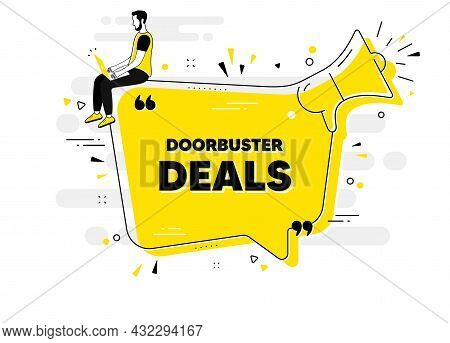 Doorbuster Deals Text. Alert Megaphone Chat Banner With User. Special Offer Price Sign. Advertising