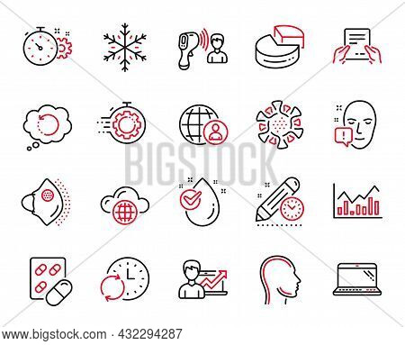 Vector Set Of Science Icons Related To International Recruitment, Receive File And Electronic Thermo