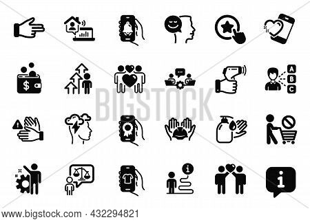 Vector Set Of People Icons Related To Electronic Thermometer, Dont Touch And Builders Union Icons. T