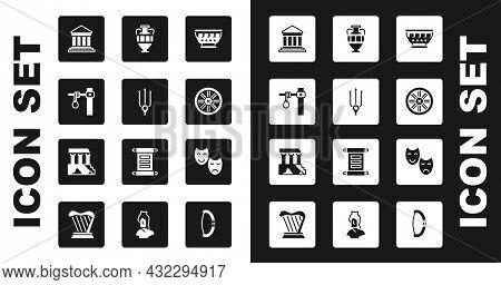 Set Greek Ancient Bowl, Neptune Trident, Gallows, Parthenon, Old Wooden Wheel, Ancient Amphorae, Com