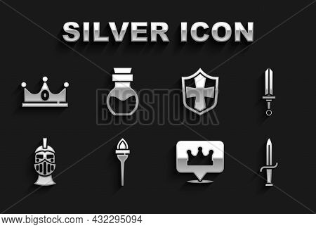 Set Torch Flame, Medieval Sword, Dagger, Location King Crown, Iron Helmet, Shield, King And Poison B