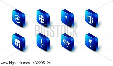 Set Shield, Medieval Spear, Chained Mace Ball, Crossed Medieval Axes, Sword, Iron Helmet And Icon. V