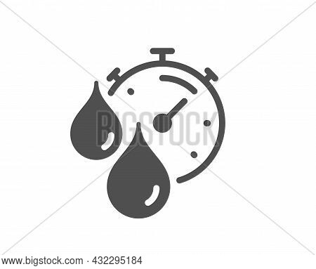 Paint Drying Time Icon. Timer With Dye Drops Sign. Dry Time Symbol. Classic Flat Style. Quality Desi