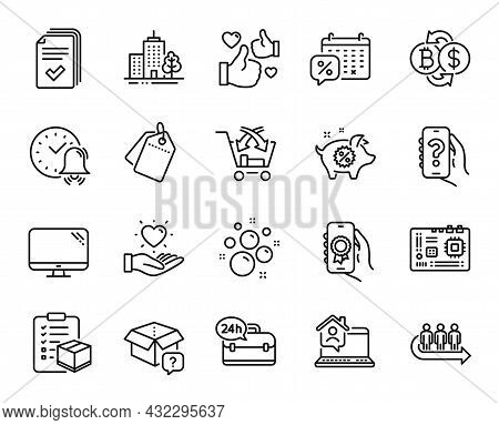 Vector Set Of Computer, Sale Tags And Cross Sell Line Icons Set. Queue, Discounts Calendar And Hando