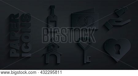 Set Key In Heart Shape, Heart Hand, Church Building, With Keyhole, Greeting Card And Champagne Bottl