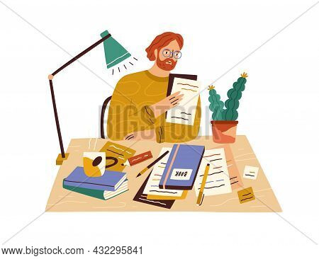 Novel Writer At Desk With Books And Papers. Creative Author Sitting At Table And Writing. Editor In