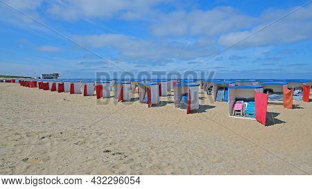 Beach houses on the beach in Katwijk aan Zee in the Netherlands