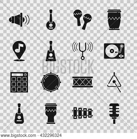 Set Microphone, Triangle, Vinyl Player With Vinyl Disk, Maracas, Balalaika, Location Musical Note, S