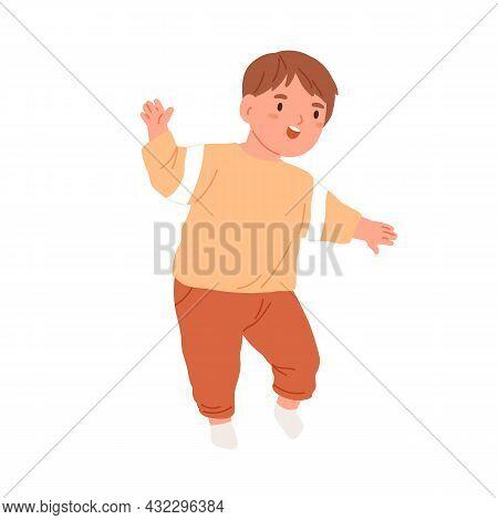 Little Child Start Walking. Happy Kid Going. Smiling Toddler Running. Portrait Of Funny Joyful Boy.