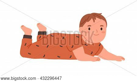Happy Baby Rolled Over And Lying On Belly. Portrait Of Smiling Child. Little Kid Crawling. Cute Ador