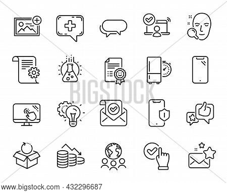 Vector Set Of Face Search, Smartphone And Money Loss Line Icons Set. Medical Chat, Checkbox And Mess