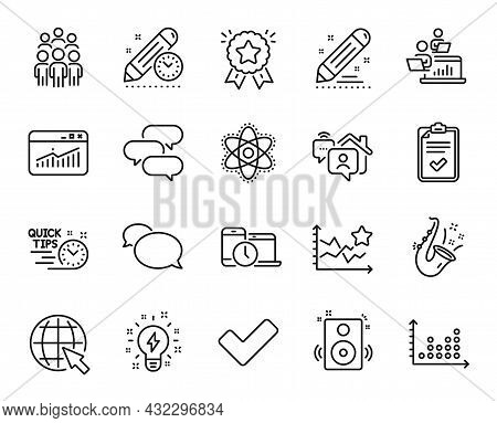 Vector Set Of Tick, Chemistry Atom And Project Deadline Line Icons Set. Brand Contract, Checklist An