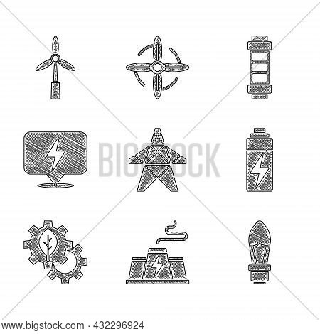 Set Electric Tower, Power Station Plant Factory, Light Bulb, Battery, Leaf In Gear Machine, Lightnin