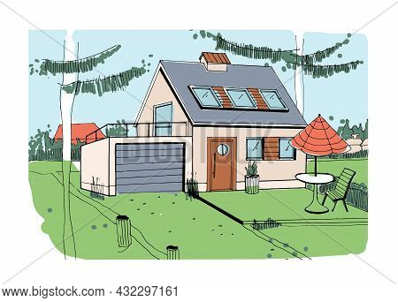 Country House Exterior. Sketch Of Cottage Home With Lawn On Backyard. Outdoor Of Rural Building. Pri