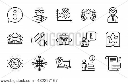 Business Icons Set. Included Icon As Pets Care, Quick Tips, Work Home Signs. Payment Card, Vacancy,