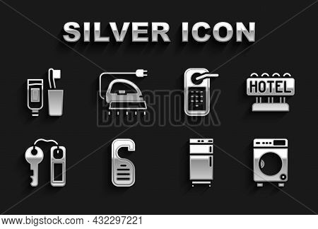 Set Please Do Not Disturb, Signboard With Text Hotel, Washer, Refrigerator, Door Lock Key, Digital,