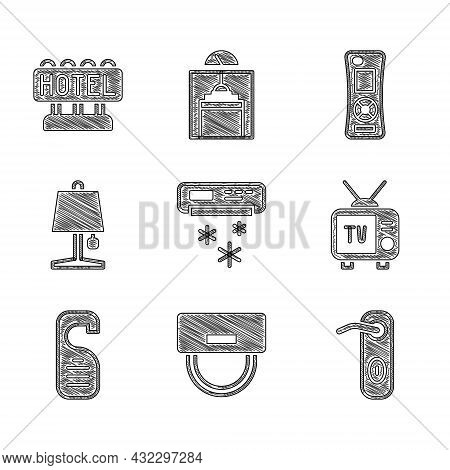 Set Air Conditioner, Bellboy Hat, Door Handle, Retro Tv, Please Do Not Disturb, Table Lamp, Remote C