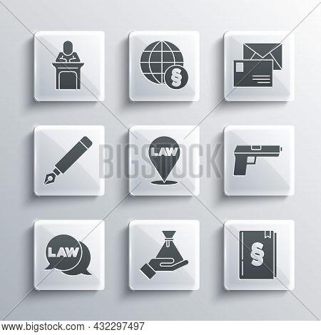 Set Bribe Money Bag, Law Book, Pistol Or Gun, Location Law, Fountain Pen Nib, Judge And Envelope Ico