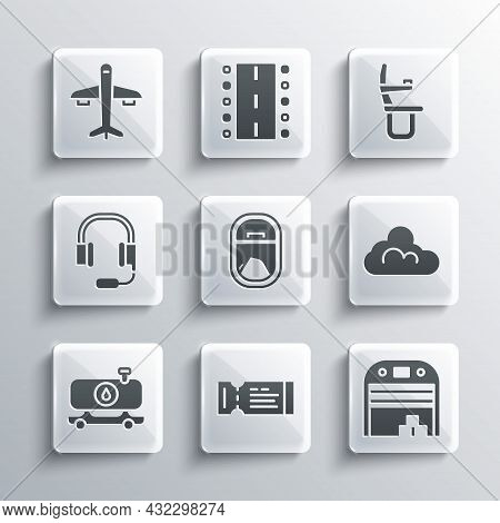 Set Airline Ticket, Aircraft Hangar, Cloud Weather, Airplane Window, Fuel Tanker Truck, Headphones W