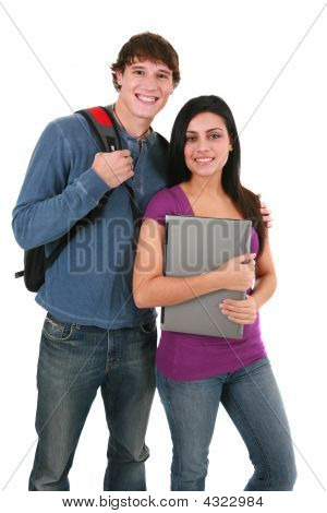 Two Casual Dressed College Student Isolated