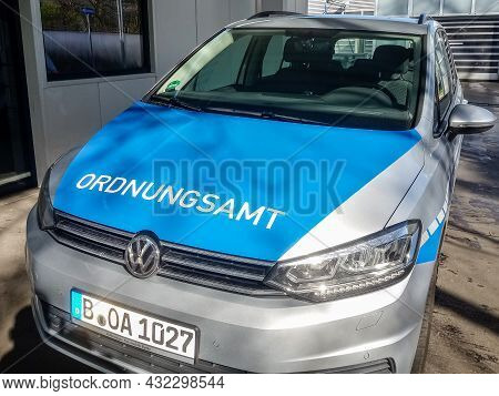 Berlin, Germany - 2020, March 16: Ordnungsamt Sign On Patrol Car. It Is The Municipial Authority For