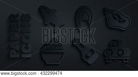 Set Soy Sauce Bottle, Mussel, Caviar, Sushi On Cutting Board, Fish Steak And Shark Icon. Vector